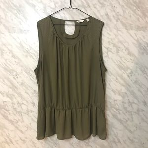 Reitmans Tank Olive Green with gold accents